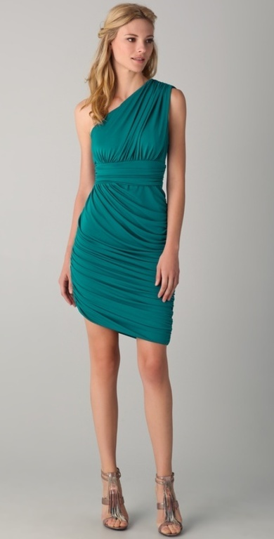 Halston Heritage One Shoulder Drape Dress in Green (teal)=gorgeous