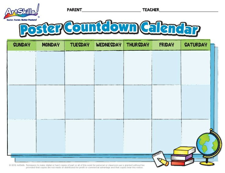 Calendar Poster For Classroom : Help keep projects on track with this poster countdown