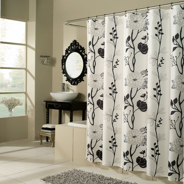 Cassandra Black And White Floral Fabric Shower Curtain By M Style