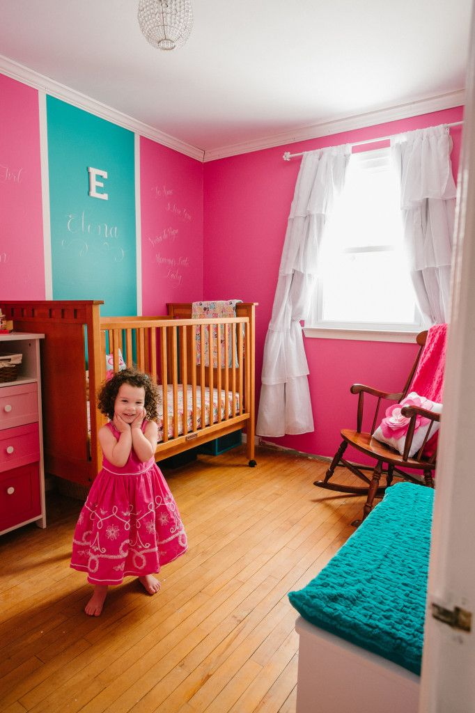 Pink nursery with fab accent walls