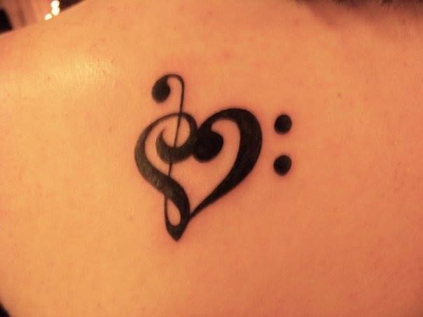 Treble clef and bass clef heart tattoo ink pinterest for Treble and bass clef heart tattoo