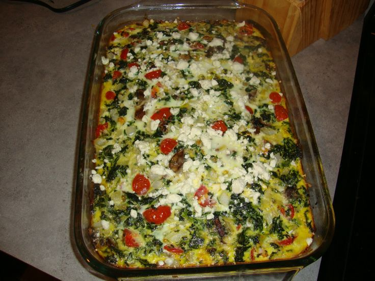 Spinach Tomato and Feta Breakfast Casserole