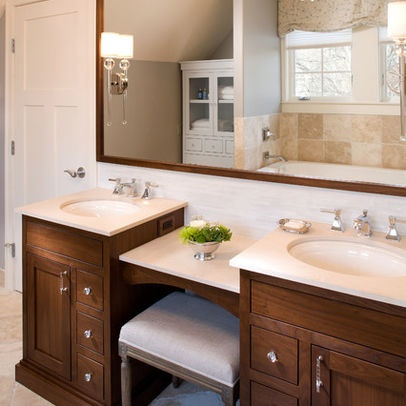 Awesome Sink Vanity With Makeup Area  Bathrooms  Pinterest  Home Bathroom