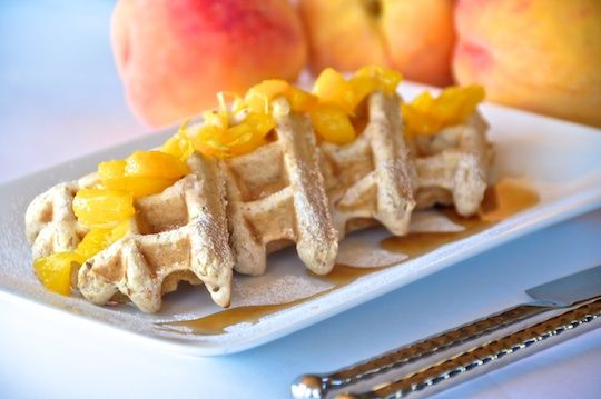 Vegan, no egg, no butter waffles with fresh peach sauce. YOU will be ...