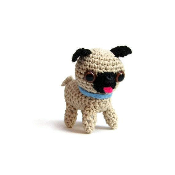 Free Crochet Pattern For Pug Dog : Crochet pug dog pattern pdf, miniature animal crochet ...
