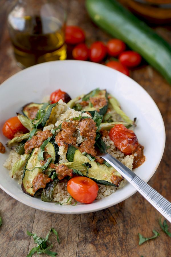 Quinoa salad with roasted vegetables via @pickledplum.com