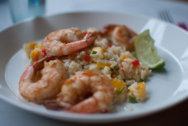 Mango Rice with Spice Rubbed Shrimp (from Eclectic Mom)