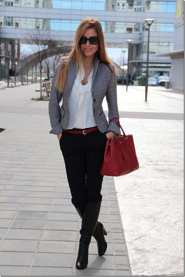 Best of Street Style White ruffle shirt, black slacks, grey jacket (nordstrom)