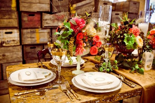 Vineyard inspired rustic table