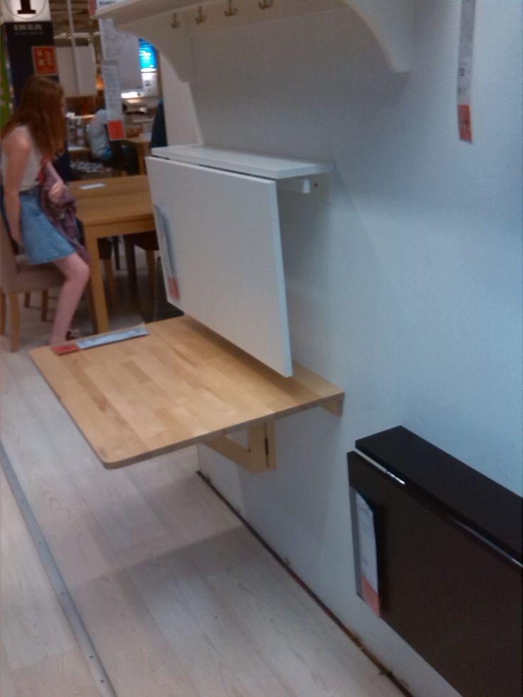 White folding kitchen table ikea for Fold down desk table
