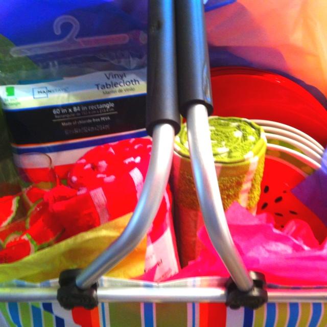 Gift basket I put together for a wedding shower. Picnic basket, table ...