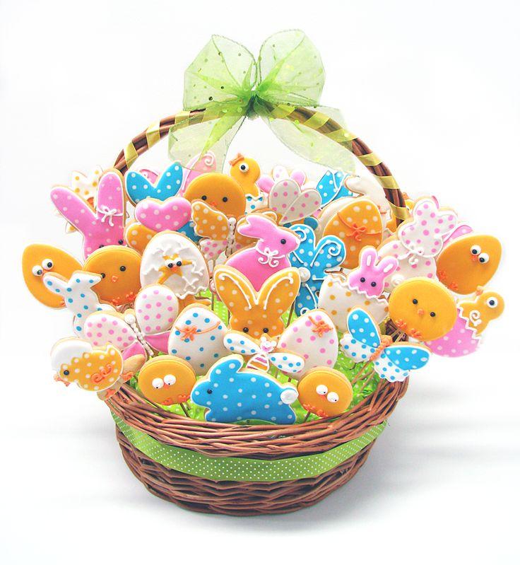 big easter basket cookies | easter / spring cookies | Pinterest