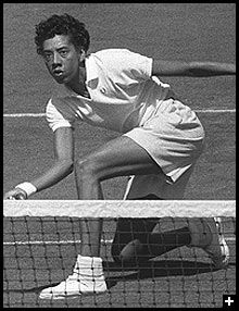 Althea Gibson 1927-2003 brought grace,dignity and power to the world of tennis in the 1950's. She is best remembered for having the courage to take on major tennis' all-white establishment. Gibson was a pioneer who broke several racial barriers in the sport and paved the way for future stars such as Arthur Ashe, Zina Garrison, and Venus and Serena Williams. The first African-American to win the Wimbledon singles title (she did it twice, in 1957 and 1958)