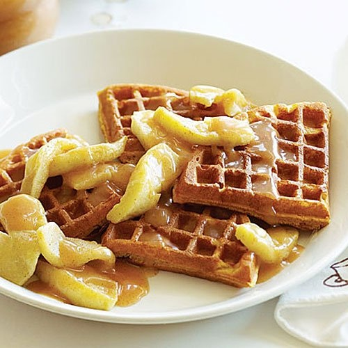 Pumpkin Waffles with Apples and Apple Cider Syrup