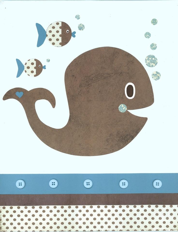 Whale Nursery Nautical Nursery Kids Ocean Wall Art 8x10 Print Oce