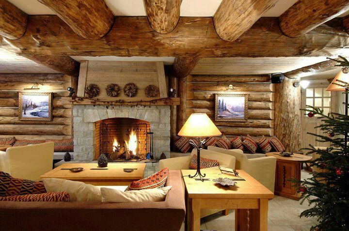 Log cabin living room dream winter cabin vacation home pinterest