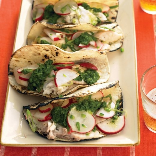 Fish Tacos with Salsa Verde and Radish Salad - Martha Stewart Recipes
