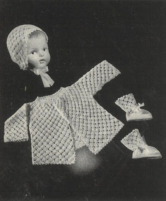 VCP22 baby matinee coat set vintage crochet pattern PDF