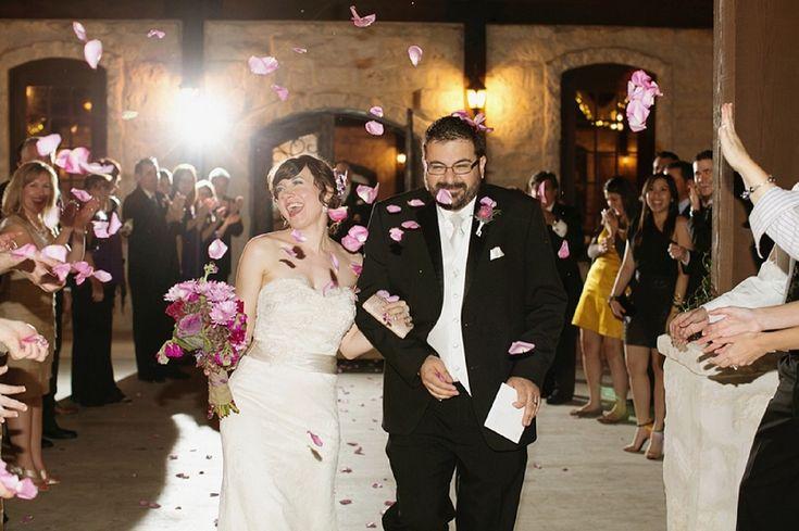Rose petal wedding exit! // photo by Korie Lynn Photography