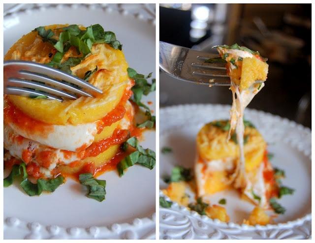 baked polenta layered with fresh mozz and marinara sauce and basil