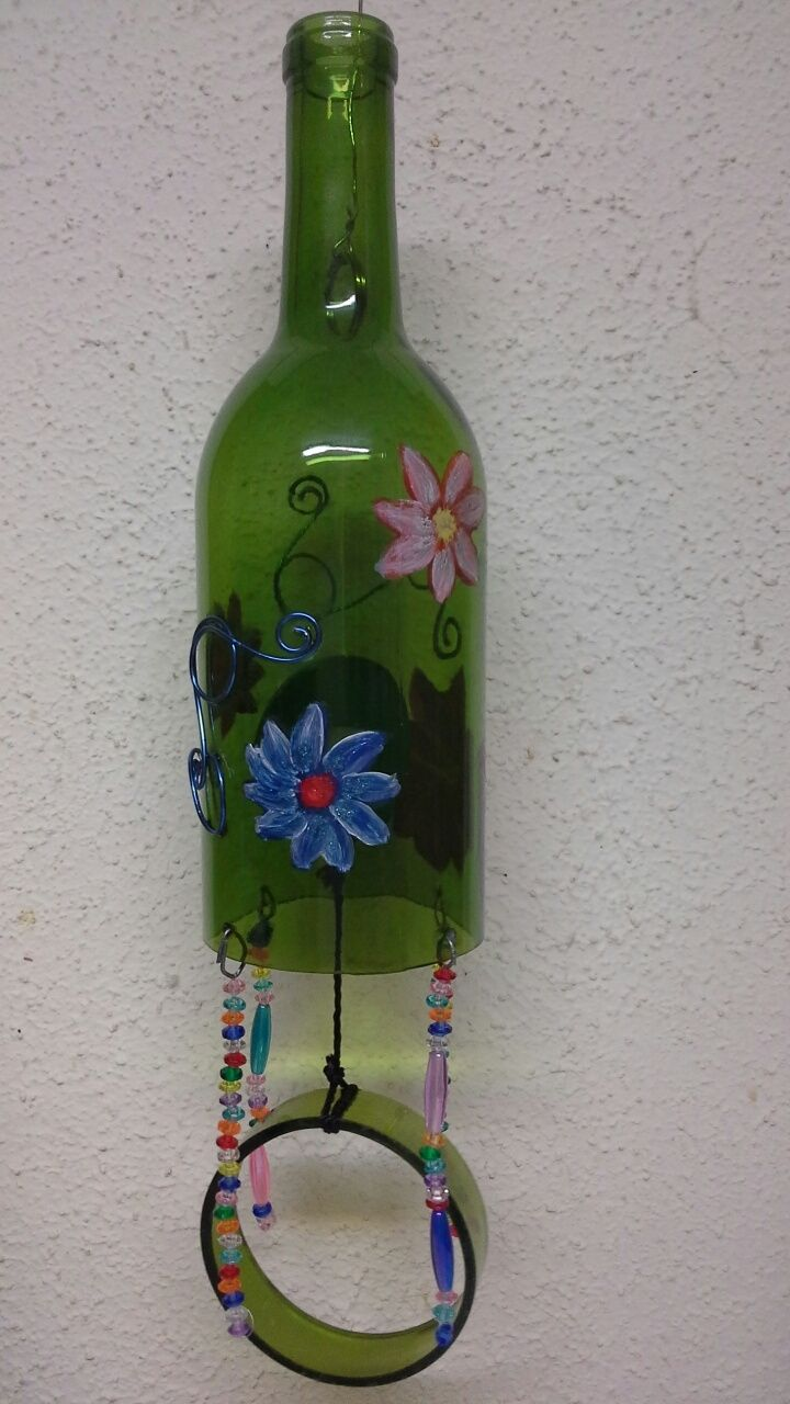 how to make wine bottle wind chimes