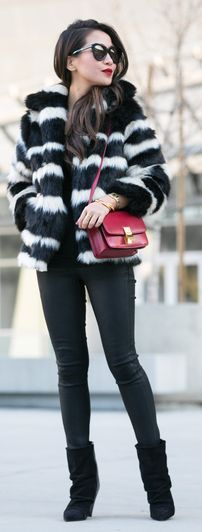 Black And White Stripe Faux Fur Jacket by Wendy's Lookbook