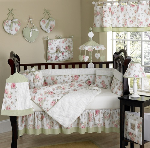 SHABBY CHIC PINK FLOWER CHEAP GIRL BABY CRIB BEDDING COLLECTION 9p CO ...