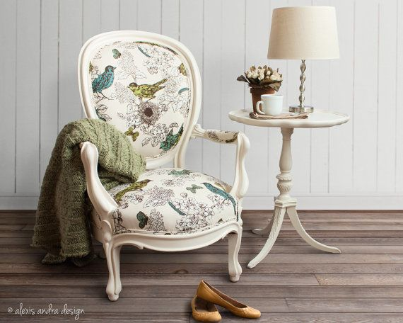 Antique Victorian Round Back Chair - classic unexpected cream vintage blue green teal white brown whimsical romantic french country armchair