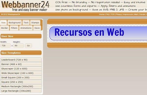Webbanner24, utilidad web para crear todo tipo de 'banners' gratis y sin registro