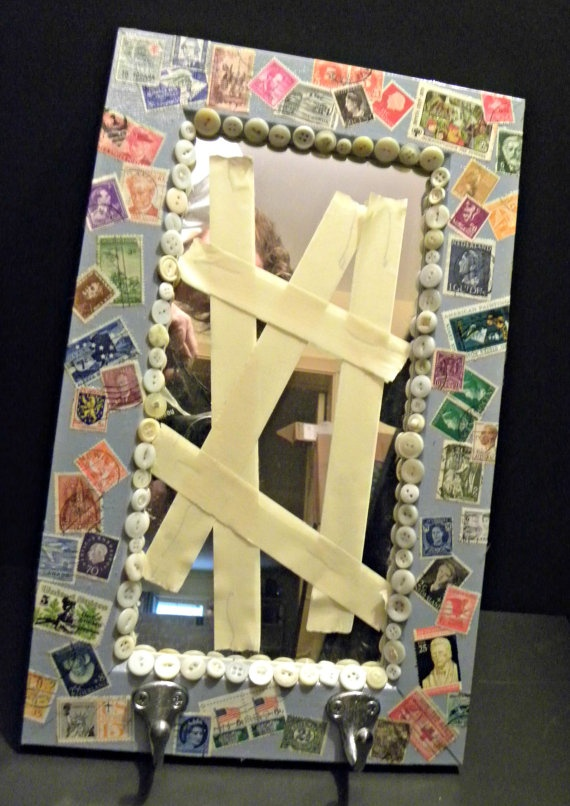 retro postage stamp collage mirror by 2STARart on Etsy, $24.00