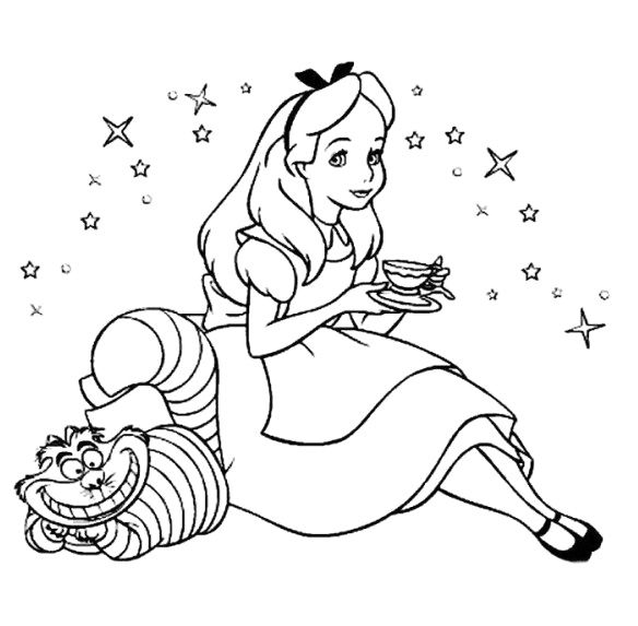 Free coloring pages of alice and wonderland cat