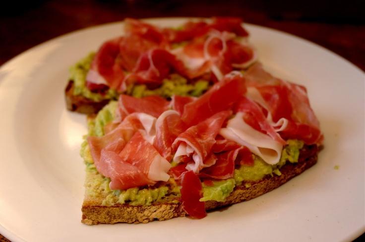 The Londoner: Roasted garlic guacamole & serrano ham on toast -- YUM ...