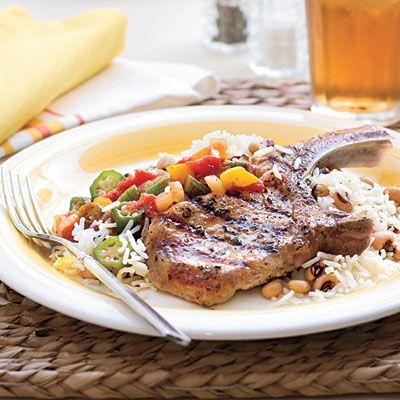 Grilled Basil and Garlic Pork Chops