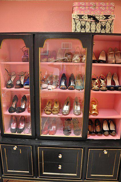 Old entertainment unit as shoe storage, via Pinterest