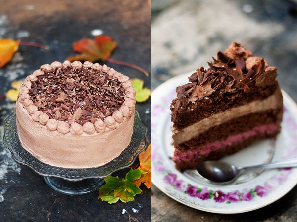 Chocolate zucchini cake with blackberry mousse