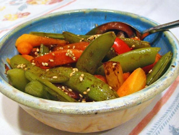 Sesame Snap Peas With Carrots and Peppers | Recipe