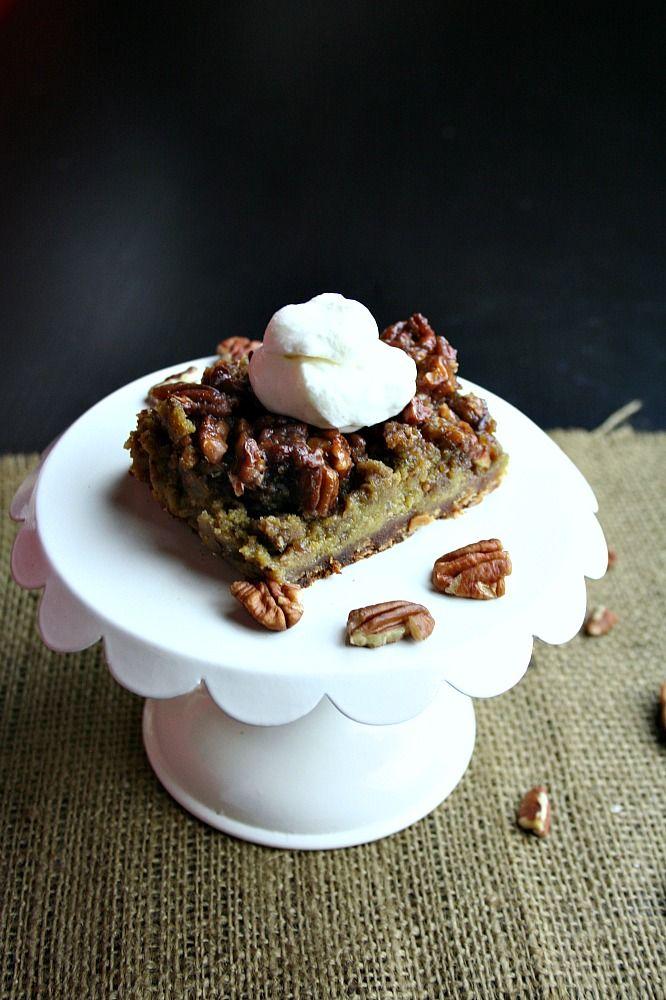 Pumpkin Pecan Pie Bars with Vanilla Bourbon Whipped Cream... Oh my ...