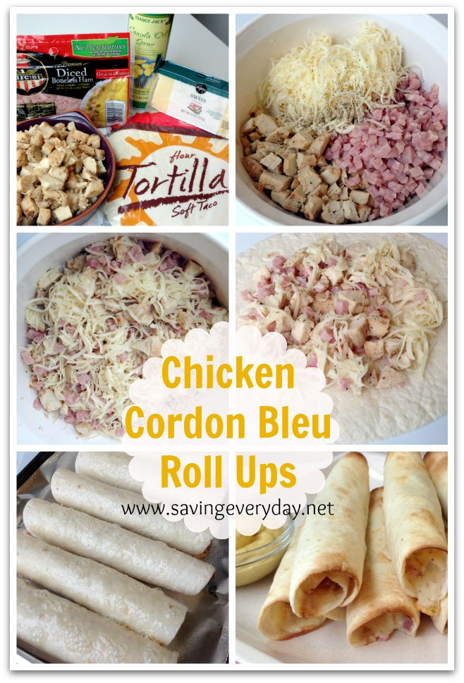 Chicken Cordon Bleu Roll Ups Recipe | Family foods | Pinterest