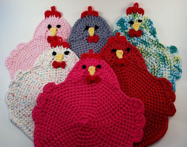 Free Crochet Pattern Rooster Pot Holder : Swanky Chicken Trivet Potholder pattern by Sarah Moss