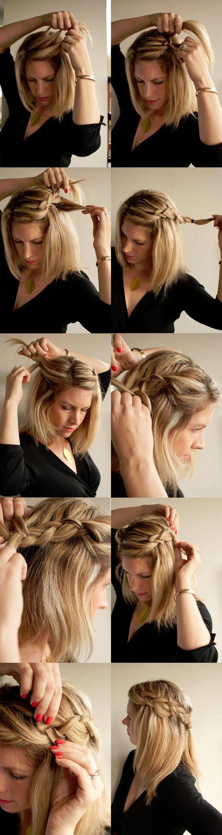 Причёски косички на средние волосы фото своими руками 1