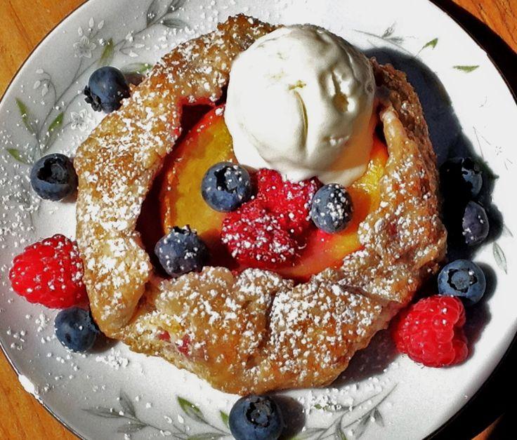 Peach & Berry Galette w/ Frozen Honey Mousse.
