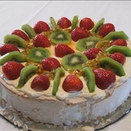 ... ,spread with whipped cream and cut up Strawberries or Kiwi fruit