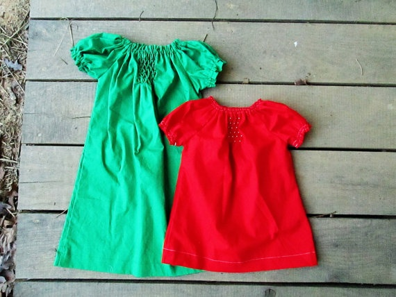 Smocked christmas peasant dress red or green dress size newborn 0 3 m