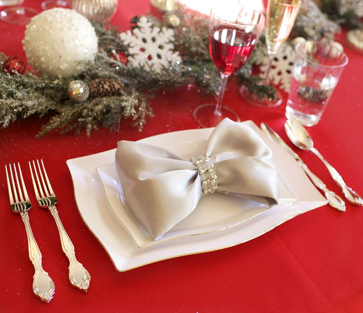 Christmas Place Settings Amazing With Napkin Place Setting with Bow Photo