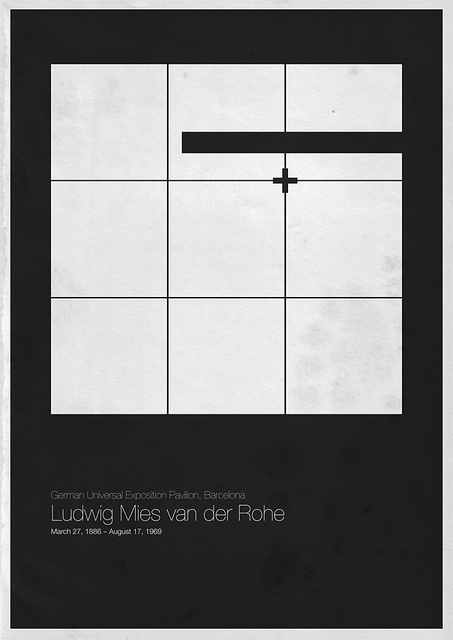 Six Architects posters by AndreaGallo  Mies Van Der Rohe