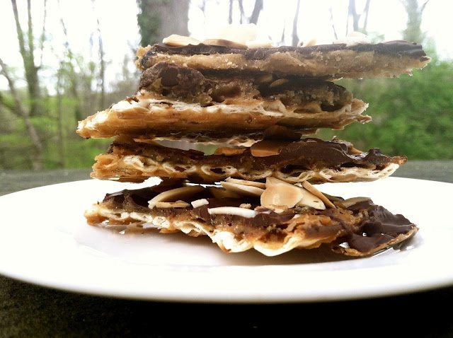 Holy Crack*! (*aka Chocolate Toffee Matzo Crunch with Toasted Almonds)