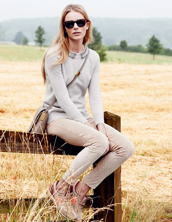 J.Crew Collection cashmere jeweled collar sweater and velvet toothpick pant.