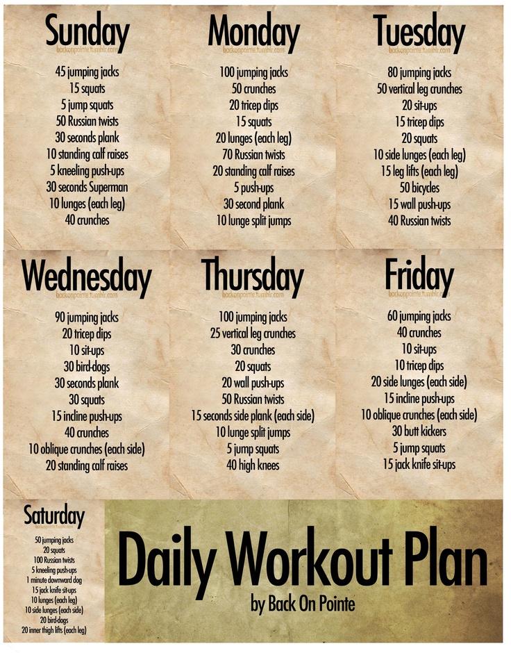 Daily Workout Plan | New Calendar Template Site