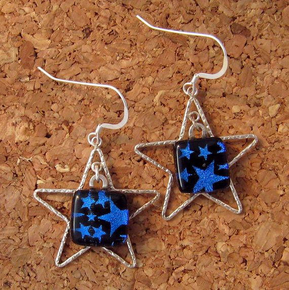 Dichroic star earrings blue dichroic stars fused by glassmystique 25