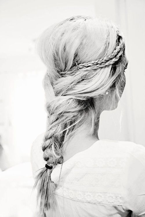 Little braids into a big messy braid.